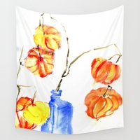 lanterns Wall Tapestries featuring Chinese Lanterns by Kate Havekost Fine Art