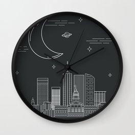 Cityscape at Night Wall Clock