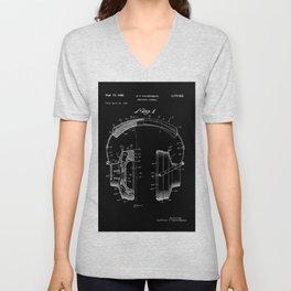 Headphones Patent - White on Black Unisex V-Neck
