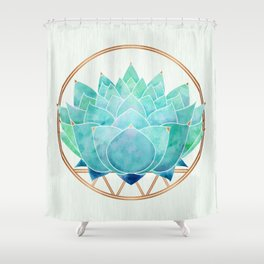 Modern Blue Succulent with Metallic Accents Shower Curtain