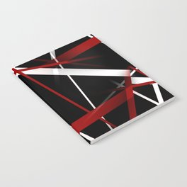 Seamless Red and White Stripes on A Black Background Notebook