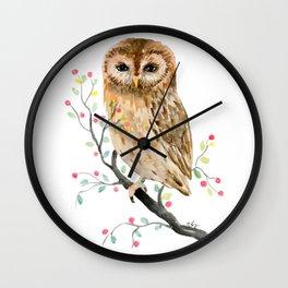 Watercolor Little Owl Portrait Wall Clock