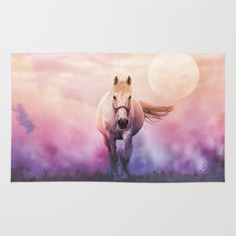 Romantic mystery horse illustration with full moon Rug