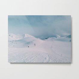 Skiing in the Alps Metal Print