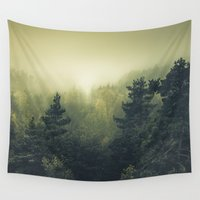 outdoor Wall Tapestries featuring Forests never sleep by HappyMelvin