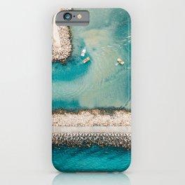 I Need The Sea Because It Teaches Me, Aerial Beach Home Print | Ocean Wall Art | Sea Large Print iPhone Case
