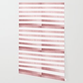 Simply Stripes in Rose Gold Sunset Wallpaper