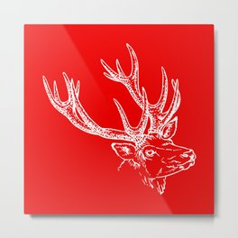Deer Red White Metal Print