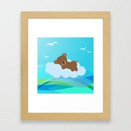 Teddy Bear & clouds , Nursery Framed Art Print