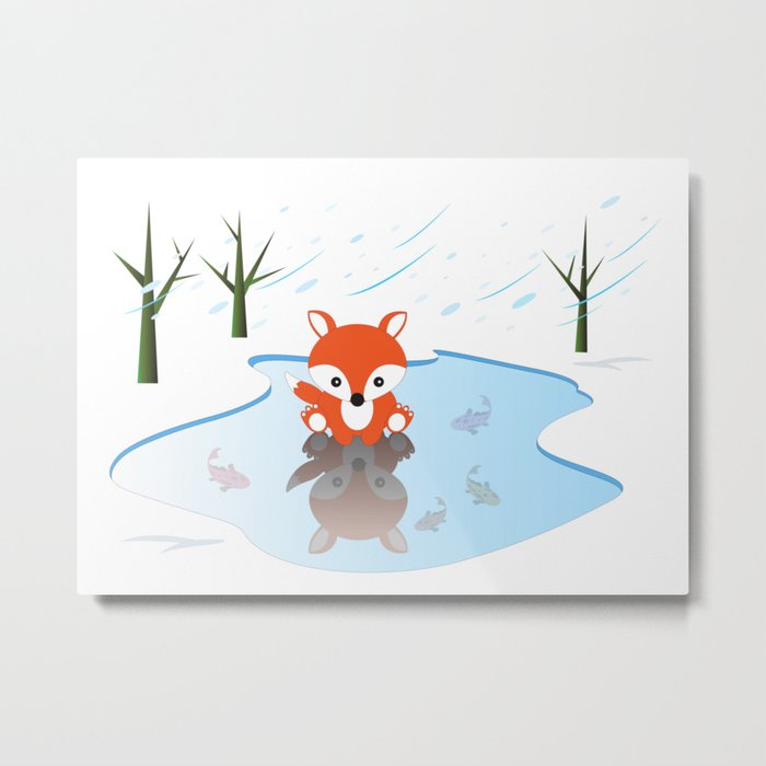 Little Fox On Ice Metal Print