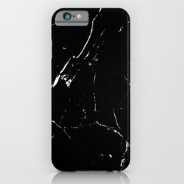 Gentle Fracture - Black And White Abstract Marble Pattern Minimalist iPhone Case
