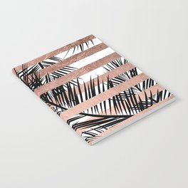 Trendy tropical palm trees chic rose gold stripes Notebook