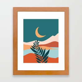 Moonlit Mediterranean / Maximal Mountain Landscape Framed Art Print