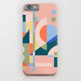 Abstract cityscape in funny geometric shapes iPhone Case