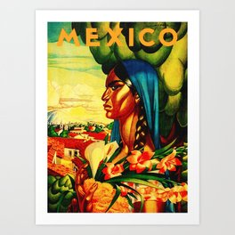 Vintage Mexico Travel - Woman with Flowers Art Print