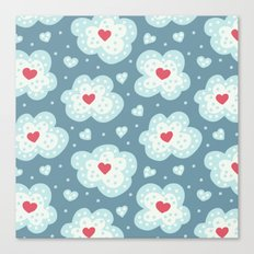 Winter Hearts And Snowy Clouds Canvas Print