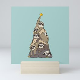 Christmas Tree  Sloths Mini Art Print