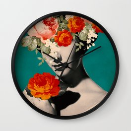 WOMAN WITH FLOWERS Wall Clock