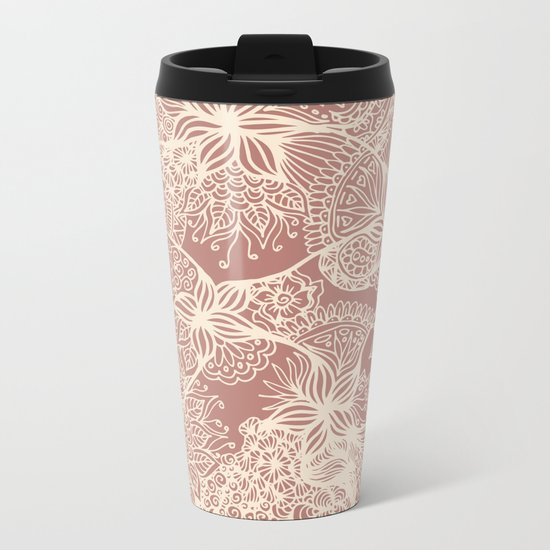 rose gold floral zentangle doodles travel mug