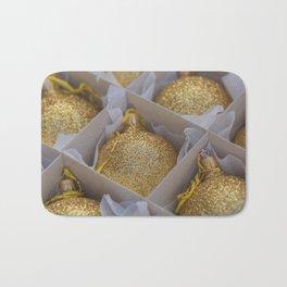 Time For Golden Christmas Balls Bath Mat