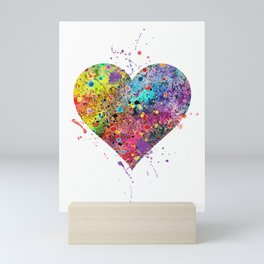 Heart Watercolor Art Print Love Home Decor Valentine's Day Wedding or Engagement Gift Mini Art Print