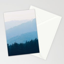 Parallax Mountain Hills Blue Hues Minimal Modern Landscape Photo Stationery Cards