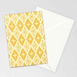 Mid Century Modern Atomic Triangle Pattern 711 Yellow on Yellow Stationery Cards