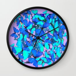 Blue Butterflies Pink Melange Art Wall Clock