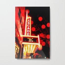 Rainy Night at the Theatre Market Street Redding California Metal Print