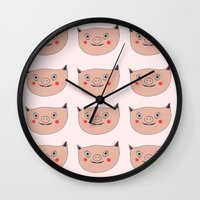pig Wall Clocks featuring Pig by Maureen Poignonec