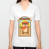 ewok V-neck T-shirts featuring Esok Ewok by Gary  Ralphs Illustrations