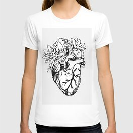 Floral Mexican Heart - black and white T-shirt