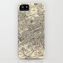 Vintage Map of Glasgow Scotland (1872) iPhone Case
