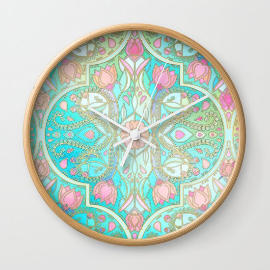 Floral Moroccan in Spring Pastels - Aqua, Pink, Mint & Peach Wall Clock