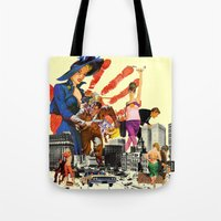 dick Tote Bags featuring private dick by TRASH RIOT