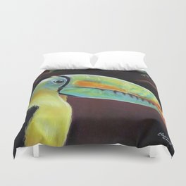 Toco Toucan (Ramphastos Toco) Pastels Artwork Duvet Cover