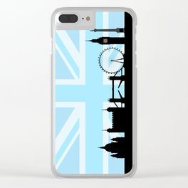 London Sites Skyline and Blue Union Jack/Flag Clear iPhone Case