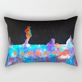 Florence Italy Skyline - With Lower Banner Rectangular Pillow