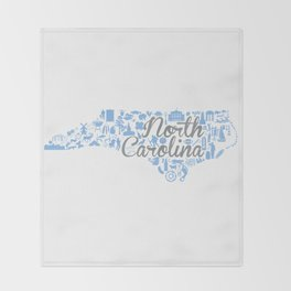 UNC North Carolina State - Blue and Gray University of North Carolina Design Throw Blanket