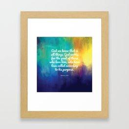 Romans 8:28, Encouraging Scripture Framed Art Print