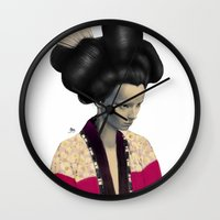 geisha Wall Clocks featuring Geisha by Albert Lee