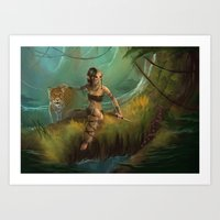 Feral Huntress Art Print