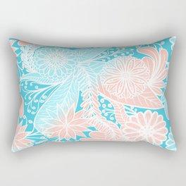 Artsy Summer Coral Aqua Hand Drawn Floral Pattern Rectangular Pillow