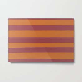 Red and Orange Wide Horizontal Stripe Pattern 2021 Color of the Year Passionate and Copper Kettle Metal Print