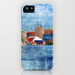 Baltimore Skyline from Locust Point, Pastel Cityscape, Charm City, Maryland iPhone Case