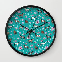 Horse Pattern, Floral Print, Turquoise, Little Girls Room, Horses Wall Clock