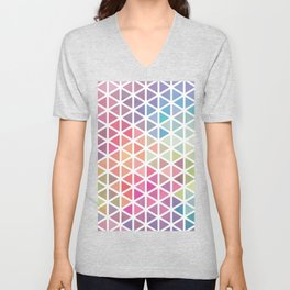 Geometric Fractal Triangles Bubblegum Rain Unisex V-Neck
