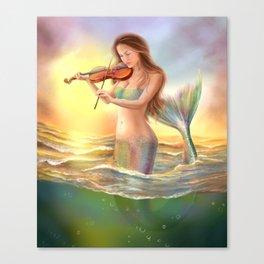 Beautiful woman fantasy mermaid plays on violin on sunset Canvas Print