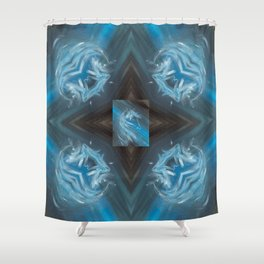 Blue Filly Pattern Shower Curtain