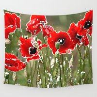 poppies Wall Tapestries featuring Poppies by Regan's World